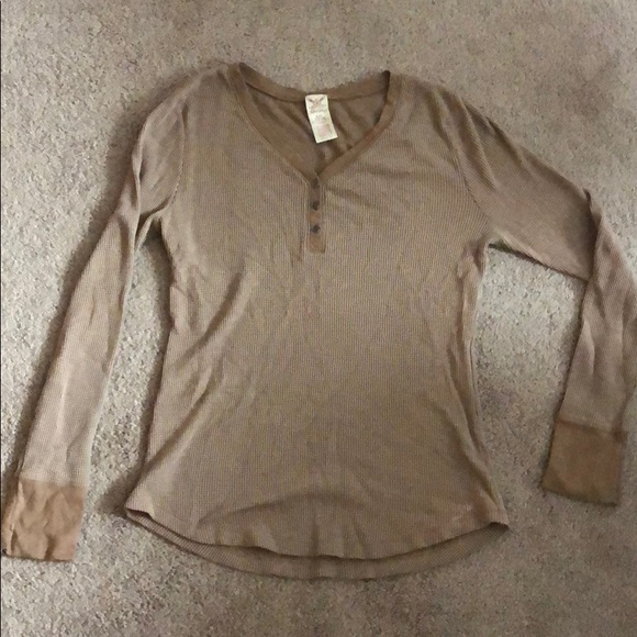 Tops - Brown/tan thermal Henley